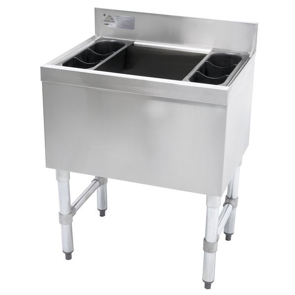 "Advance Tabco SLI-16-24-7 Stainless Steel Underbar Ice Bin with 7-Circuit Cold Plate - 24"" x 18"""