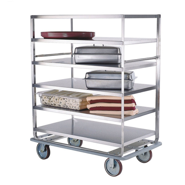 """Lakeside 583 Stainless Steel Queen Mary Banquet Cart with (4) 28"""" x 46"""" Shelves - 3 Edges Up, 1 Down"""
