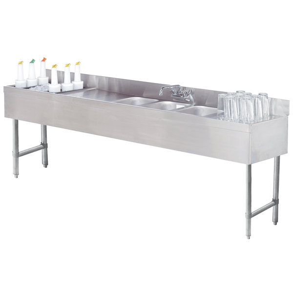 "Advance Tabco SLC-73C-L Three Compartment Stainless Steel Bar Sink and Ice Bin Combo - 84"" x 18"" (Left Side Ice Bin)"