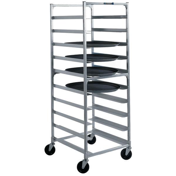"""Lakeside 8582 Aluminum Oval Tray Cart for 23 1/2"""" x 29"""" Trays - 9 Tray Capacity"""