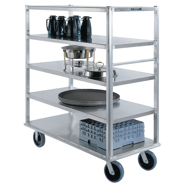 """Lakeside 4567 Aluminum Queen Mary Banquet Cart with 5 Shelves - 29"""" x 66"""" x 62"""" Main Image 1"""