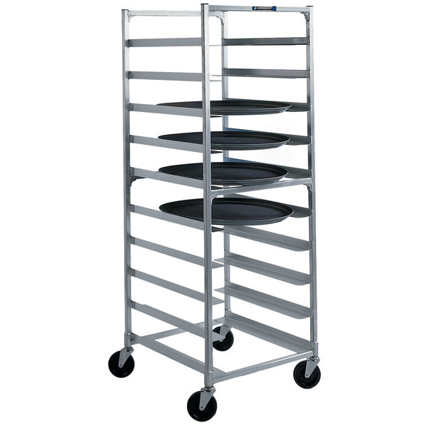 "Lakeside 8580 Aluminum Oval Tray Cart for 22"" x 26 7/8"" Trays - 10 Tray Capacity"