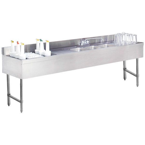 """Advance Tabco CRC-83C-L Three Compartment Stainless Steel Bar Sink and Ice Bin Combo - 96"""" x 21"""" (Left Side Ice Bin)"""