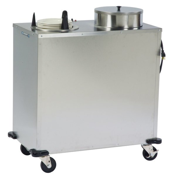 "Lakeside E6205 Enclosed Stainless Steel Heated Two Stack Plate Dispenser for 5 1/8"" to 5 3/4"" Plates"