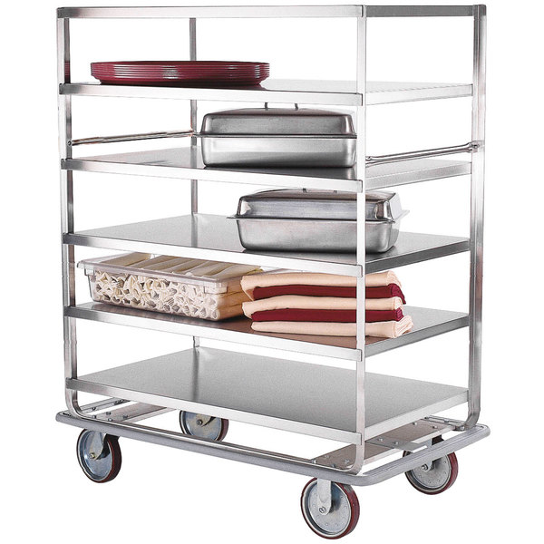 "Lakeside 582 Stainless Steel Queen Mary Banquet Cart with (3) 28"" x 46"" Shelves - All Shelf Edges Down Main Image 1"