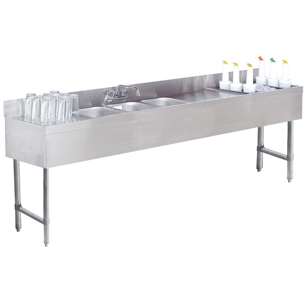 """Advance Tabco SLC-83C-R Three Compartment Stainless Steel Bar Sink and Ice Bin Combo - 96"""" x 18"""" (Right Side Ice Bin)"""