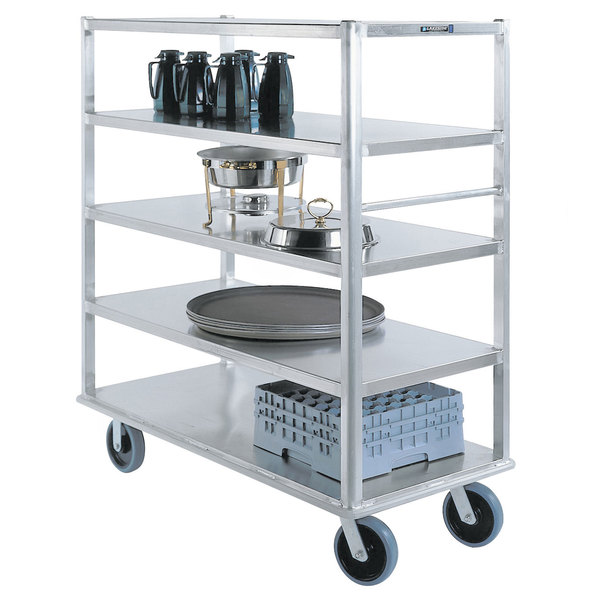 "Lakeside 4565 Aluminum Queen Mary Banquet Cart with 4 Shelves - 29"" x 66"" x 62"""