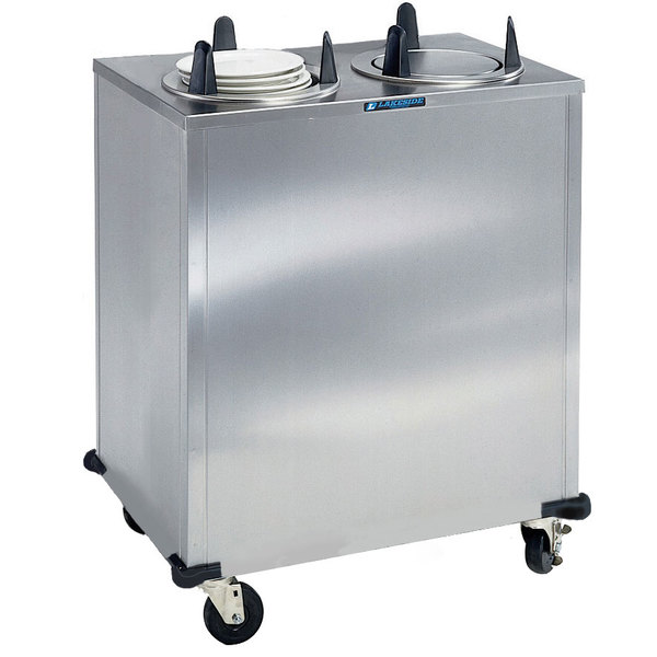 """Lakeside 6205 Stainless Steel Enclosed Heated Two Stack Plate Dispenser for 5 1/8"""" to 5 3/4"""" Plates"""