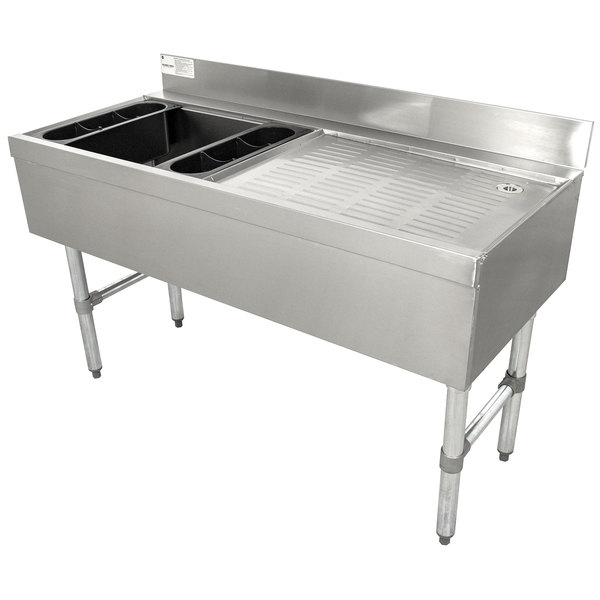 """Advance Tabco CRW-4L-7 Stainless Steel Ice Bin and Drainboard Combo Unit with 7-Circuit Cold Plate - 48"""" x 21"""" (Left Side Ice Bin)"""