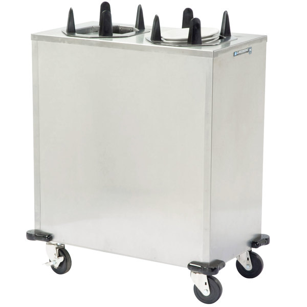 """Lakeside V6211 Stainless Steel Heated Two Stack Plate Dispenser for 8"""" x 10 3/4"""" to 8 1/2"""" x 11 1/2"""" Oval Plates"""