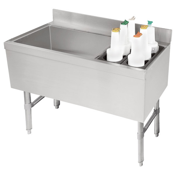 """Advance Tabco CRCI-36L-7 Stainless Steel Ice Bin and Storage Rack Combo with 7-Circuit Cold Plate - 36"""" x 21"""" (Left Side Ice Bin)"""
