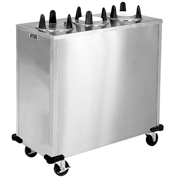 """Lakeside 5305 Stainless Steel Enclosed Three Stack Non-Heated Plate Dispenser for 5 1/8"""" to 5 3/4"""" Plates"""