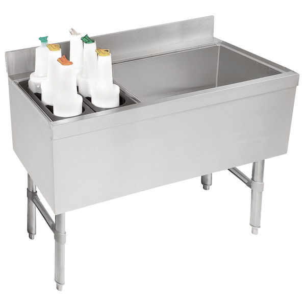 "Advance Tabco CRCI-36R-7 Stainless Steel Ice Bin and Storage Rack Combo with 7-Circuit Cold Plate - 36"" x 21"" (Right Side Ice Bin)"
