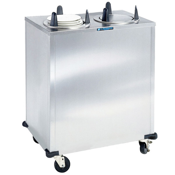 """Lakeside 5205 Stainless Steel Enclosed Two Stack Non-Heated Plate Dispenser for 5 1/8"""" to 5 3/4"""" Plates"""