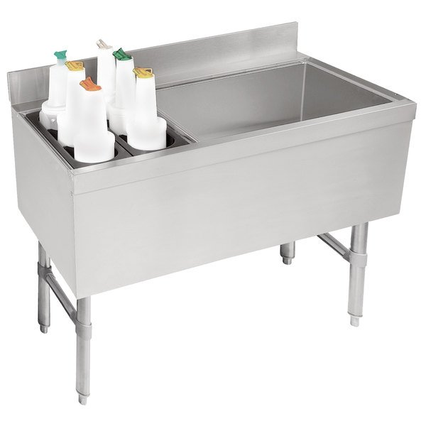 """Advance Tabco CRCI-36R Stainless Steel Ice Bin and Storage Rack Combo - 36"""" x 21"""" (Right Side Ice Bin)"""