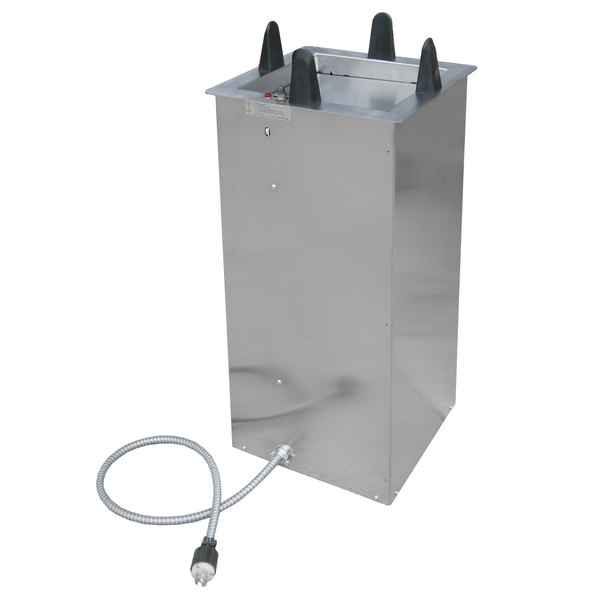 "Lakeside S6011 Shielded and Heated Square Drop-In Dish Dispenser for 10 1/2"" to 11 1/4"" Dishes"