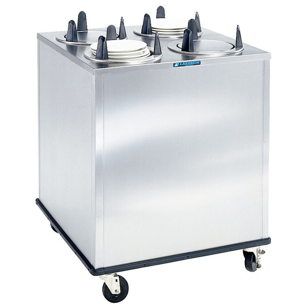 "Lakeside 5409 Stainless Steel Enclosed Four Stack Non-Heated Plate Dispenser for 8 1/4"" to 9 1/8"" Plates"
