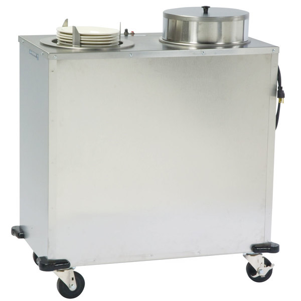 "Lakeside E917 Enclosed Stainless Steel Adjust-a-Fit Heated Two Stack Plate Dispenser for 4 1/4"" to 7 1/2"" Plates"