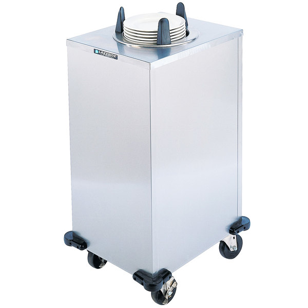 "Lakeside 6110 Stainless Steel Enclosed Heated One Stack Plate Dispenser for 9 1/4"" to 10 1/8"" Plates Main Image 1"