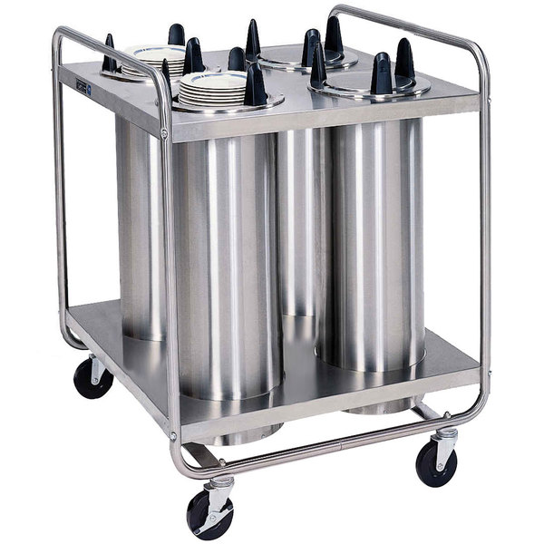 """Lakeside 796 Open Base Stainless Steel Adjust-a-Fit Heated Four Stack Plate Dispenser for 4 1/4"""" to 7 1/2"""" Plates"""