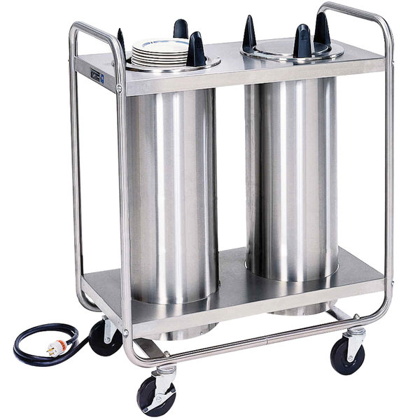 """Lakeside 778 Open Base Stainless Steel Adjust-a-Fit Heated Two Stack Plate Dispenser for 8 3/4"""" to 12"""" Plates"""