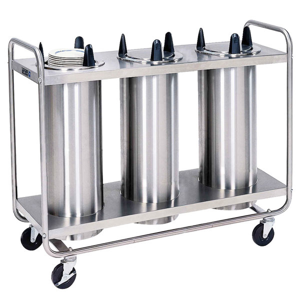 """Lakeside 787 Open Base Stainless Steel Adjust-a-Fit Heated Three Stack Plate Dispenser for 6 1/2"""" to 9 3/4"""" Plates"""