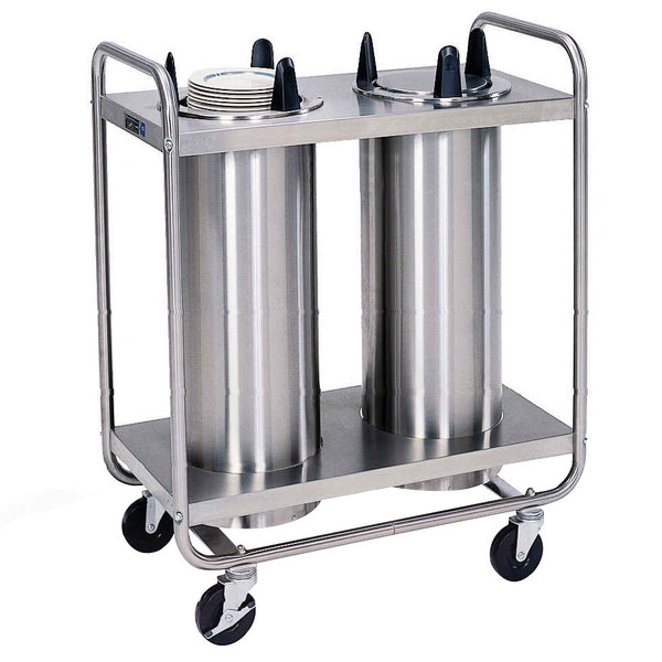 """Lakeside 7207 Stainless Steel Open Base Non-Heated Two Stack Plate Dispenser for 6 5/8"""" to 7 1/4"""" Plates Main Image 1"""