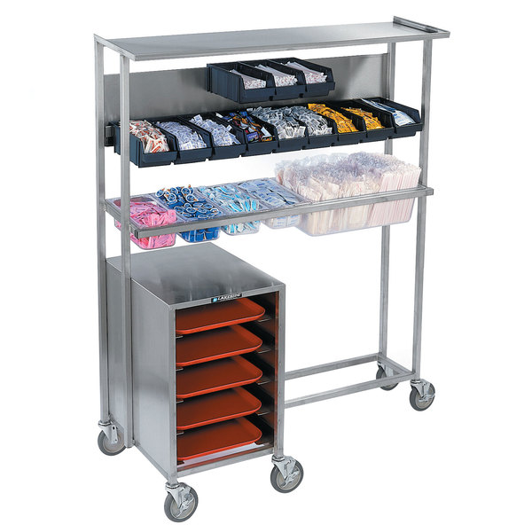 "Lakeside 2610 Stainless Steel Mobile Station for Bins, Pans, and Trays - 23 3/4"" x 52"" x 63"""