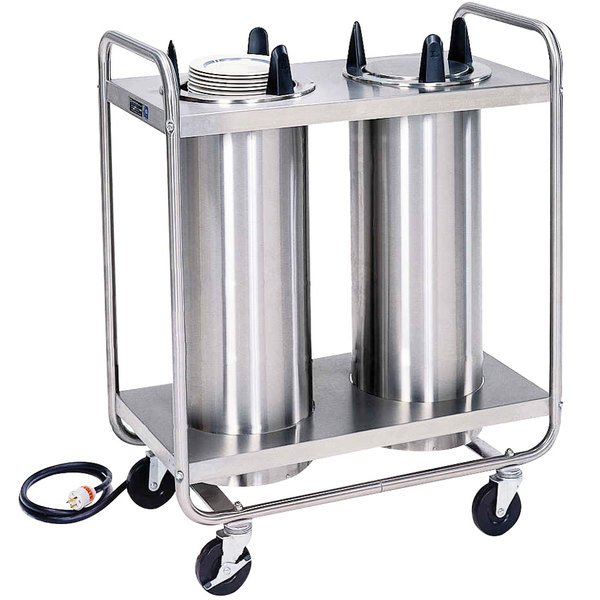 """Lakeside 8212 Stainless Steel Heated Two Stack Plate Dispenser for 11 1/4"""" to 12 1/4"""" Plates"""