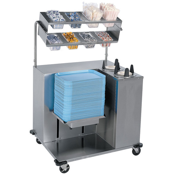 """Lakeside 2620 Stainless Steel Mobile Station for Pans, Trays, and Dishes - 35 1/2"""" x 39"""" x 60 1/4"""""""
