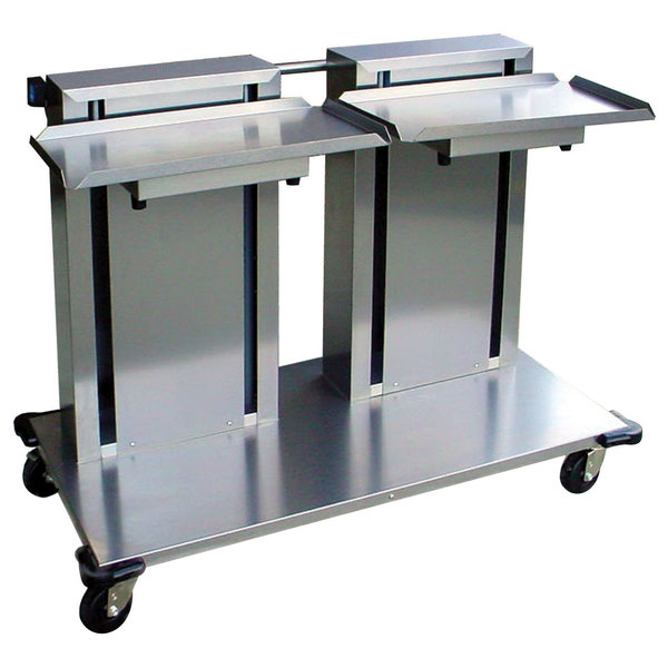 """Lakeside 2814 Stainless Steel Double Platform Mobile Cantilever Tray Dispenser for 12"""" x 22"""" Trays"""