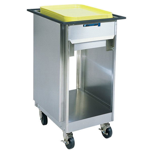 Lakeside 996 Stainless Steel Mobile Tray Dispenser with 2 Open Sides - 150 Tray Capacity