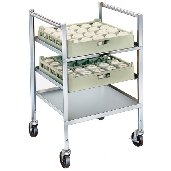 "Lakeside 197 Stainless Steel Mobile Glass Rack Cart - 21"" x 24 1/2"" x 36"" Main Image 1"