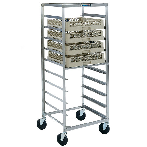 "Lakeside 198 Stainless Steel Mobile Glass Rack Cart - 22"" x 22 1/4"" x 58 1/2"""