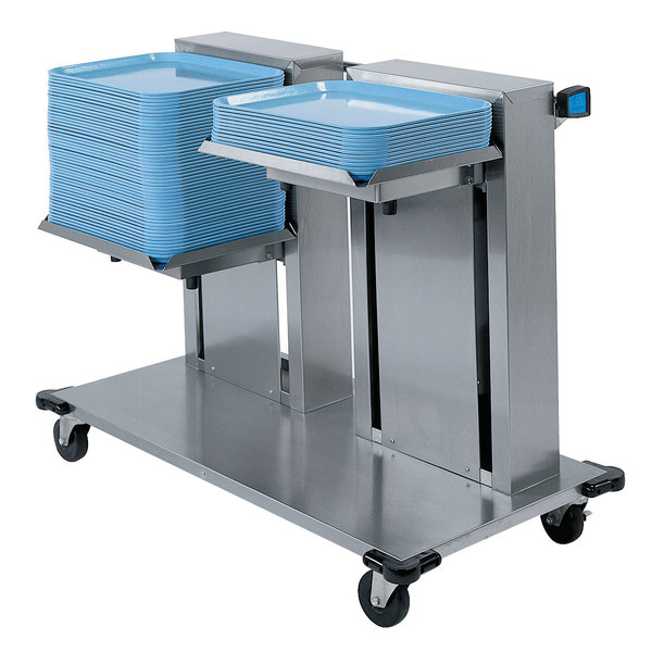 """Lakeside 2820 Stainless Steel Double Platform Mobile Cantilever Tray Dispenser for 20"""" x 20"""" Trays"""