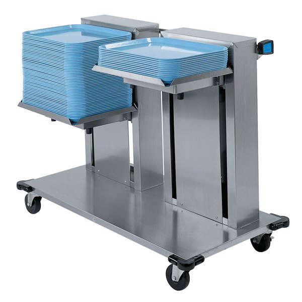 "Lakeside 2818 Stainless Steel Double Platform Mobile Cantilever Tray Dispenser for 14"" x 18"" Trays"