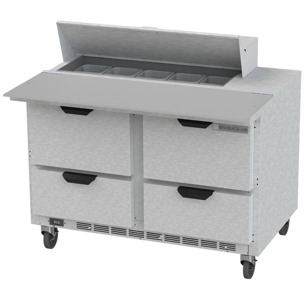 """Beverage-Air SPED48HC-10C-4 48"""" 4 Drawer Cutting Top Refrigerated Sandwich Prep Table with 17"""" Wide Cutting Board Main Image 1"""