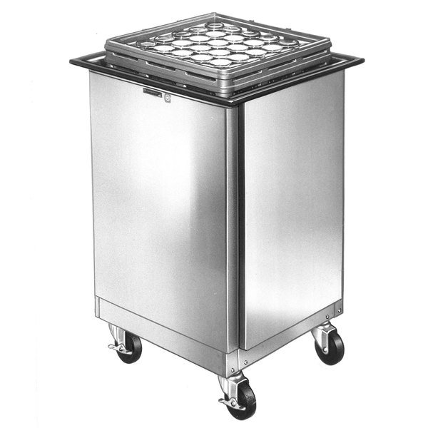Lakeside 998 Stainless Steel Mobile Glass Rack Dispenser with Enclosed Sides - 14 Rack Capacity Main Image 1