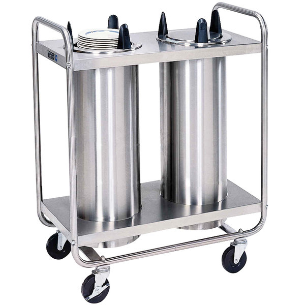 """Lakeside 7212 Stainless Steel Open Base Non-Heated Two Stack Plate Dispenser for 11 1/4"""" to 12 1/4"""" Plates"""