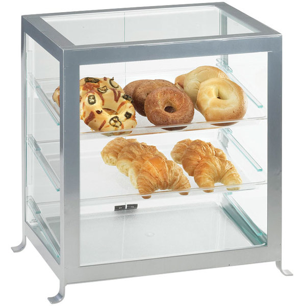 """Cal-Mil 1575-74 Soho Three Tier Silver Display Case with Rear Doors - 21 1/4"""" x 15 3/4"""" x 20 3/4"""""""