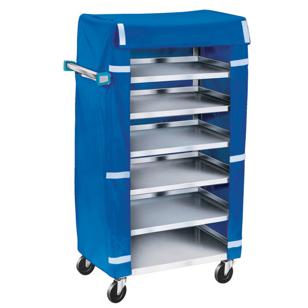Lakeside 437 Stainless Steel Economy Tray Cart with Blue Cover - 6 Tray Capacity