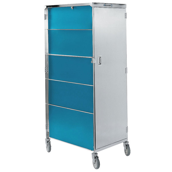 """Lakeside 650 Compact Series Single Door Stainless Steel / Vinyl Tray Cart for 15"""" x 20"""" Trays - 16 Tray Capacity"""