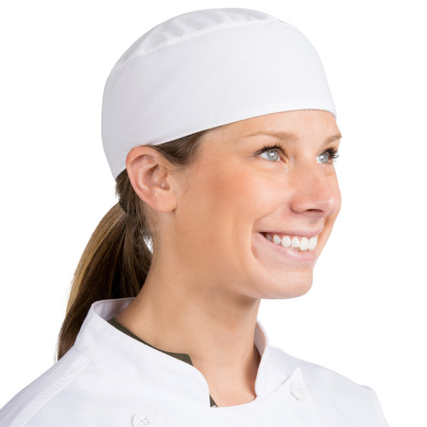 White Chefs Skull Cap Chefs Catering Skull Hat Professional Kitchen Hat