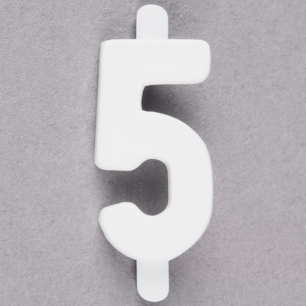 """3/4"""" White Molded Plastic Number 5 Deli Tag Insert - 50/Set"""