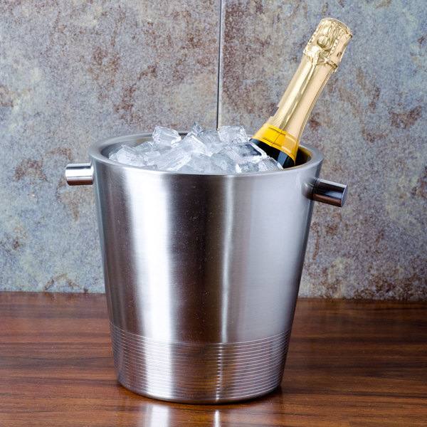 """American Metalcraft SDWC7 7"""" Stainless Steel Double Wall Champagne Bucket"""