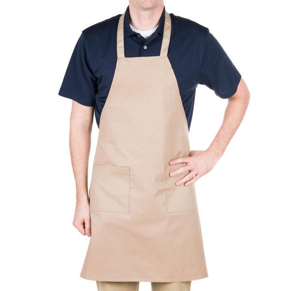 "Choice Khaki / Beige Full Length Bib Apron with Pockets - 34"" x 32""W"