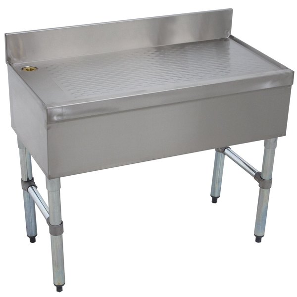 """Advance Tabco SLD-4 Stainless Steel Free-Standing Bar Drainboard - 48"""" x 18"""" Main Image 1"""