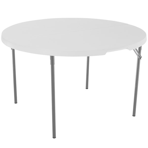 "Lifetime Round Fold-in-Half Table, 48"" Plastic, White Granite - 280064"