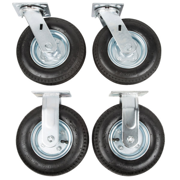 "Rubbermaid FG4592000000 8"" Pneumatic Rigid and Swivel Plate Casters for Rubbermaid Carts - 4/Set"