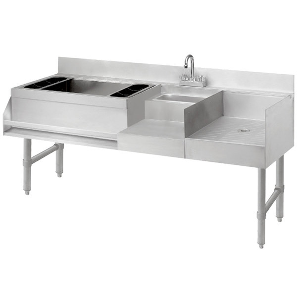 """Advance Tabco CRU-60L-7 Stainless Steel Uni-Serv Speed Bar with 7-Circuit Cold Plate - 60"""" x 21"""" (Left Side Ice Bin)"""